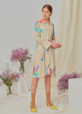 [NUPARCC/18SS 신상5%+5%쿠폰]Painted Floral Shirtdress