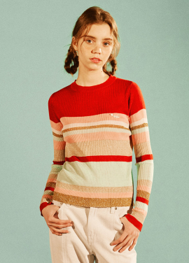 [EYEYE/18SS 5%+5%COUPON] COLOR COMBINATION KNIT TOP_RED (EEOG1NTR01W)