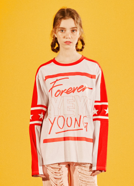 [EYEYE/18SS 5%+5%COUPON] FOREVER YOUNG STAR LONG SLEEVE T SHIRT_WHITE (EEOG1RLR04W)