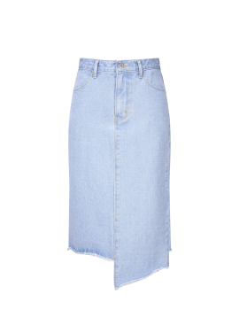 Cutting Detail H-Line Denim Skirt