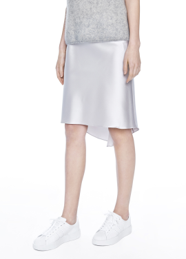 [THE SUIN/18SS 20%+5% 쿠폰] SATIN SKIRT WITH ELASTIC BANDED WAIST. SILVER