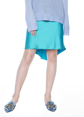 [THE SUIN/18SS 20%+5% 쿠폰] SATIN SKIRT WITH ELASTIC BANDED WAIST. EMERALD GREEN