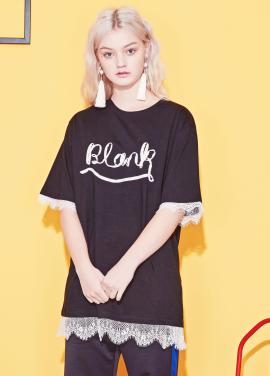 [BLANK/18SS 5%+5%쿠폰]LACE RIBBON BLANK T-BK