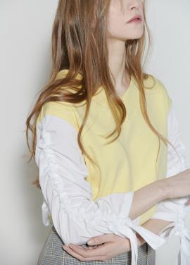 [장윤주 착용★시즌오프30%할인/CLUE DE CLARE] shirring sleeve sweat shirt Yellow