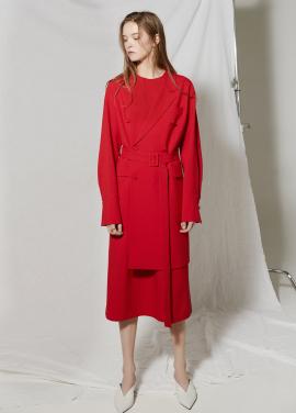[김성령 착용★시즌오프30%할인/CLUE DE CLARE] belted dress Red