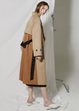 [CLUE DE CLARE/18SS 5%+5% 쿠폰] color block trench coat Beige