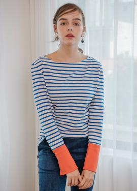 [SALON DE YOHN/18SS 5%+5%쿠폰] Stripe Cuffs T_Blue