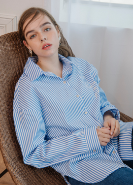 [SALON DE YOHN/18SS 5%+5%쿠폰] Stripe Boxy Shirt