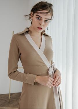 [SALON DE YOHN] Midi Wrap Dress_Beige