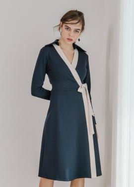 [SALON DE YOHN] Midi Wrap Dress_Navy