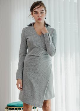 [SALON DE YOHN/18SS 5%+5%쿠폰] Dot Shirring Dress_Grey