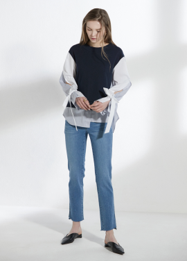[CLUE DE CLARE/18SS 5%+5% 쿠폰] slit sleeve sweat shirt Navy