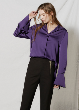 [CLUE DE CLARE/18SS 5%+5% 쿠폰] flare cuffs blouse Purple