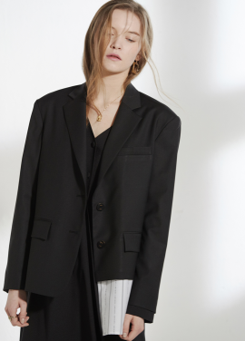 [CLUE DE CLARE/18SS 5%+5% 쿠폰] oversized shirts detail jacket Black