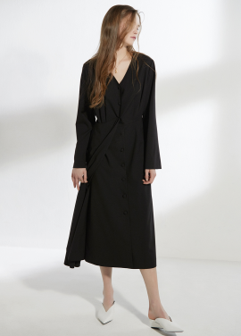 [CLUE DE CLARE/18SS 5%+5% 쿠폰] minimal long dress Black