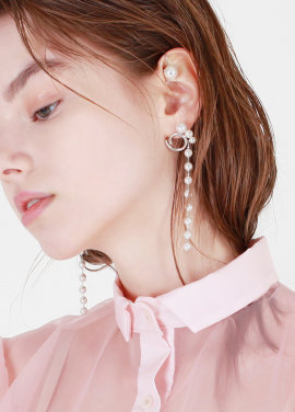 [DE LA LUNE/10%] 3Pearl Chain Earring[DL18SSER11SVF]