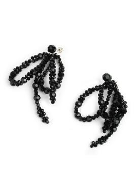 [DE LA LUNE/10%] Black Crystal lvy Earring[DL18SSER20BKF]