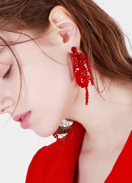 [DE LA LUNE/10%] Red Crystal lvy Earring[DL18SSER20RDF]