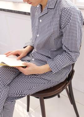 [TRAVEL MY ROOM/런칭기념10%+5%쿠폰] Check Pajama Set_Navy