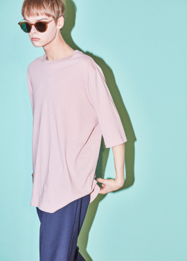 [NOHANT]CURVED T-SHIRT PINK