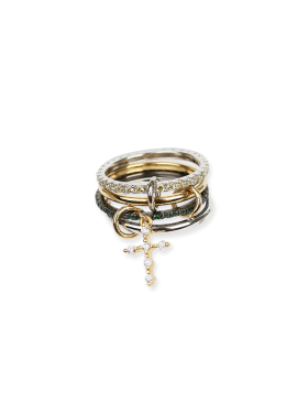 [DE LA LUNE/10%] Cross Mix Ring[DL18SSRG03GRF]