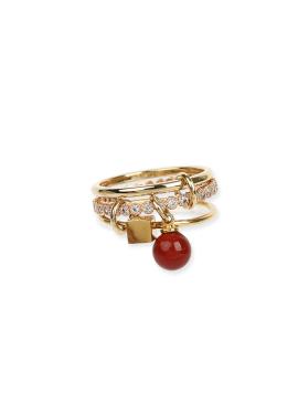 [DE LA LUNE/10%] Red Pop Mix Ring[DL18SSRG04RDF]