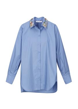 Collar Point Cotton Blouse