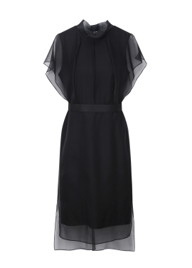 Black Ruffle Lave Sleeveless Dress