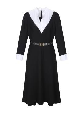 Neck Line Point Belt Dress