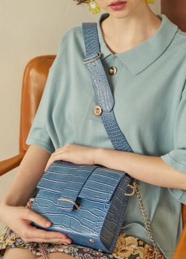 [RYUL+WAI/18SS 신상 5%할인 + 추가 5% 할인쿠폰] BLUE (CROCODILE SKIN) 2 STRAP MINI BAG