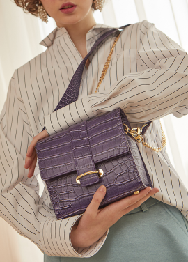 [RYUL+WAI/18SS 신상 5%할인 + 추가 5% 할인쿠폰] PURPLE (CROCODILE SKIN) 2 STRAP MINI BAG