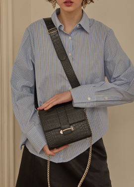 [RYUL+WAI/18SS 신상 5%할인 + 추가 5% 할인쿠폰] BLACK (CROCODILE SKIN) 2 STRAP MINI BAG