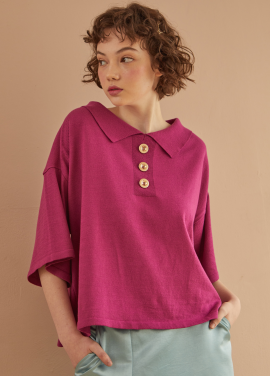 [RYUL+WAI/18SS 신상 5%할인 + 추가 5% 할인쿠폰] VIOLET LOOSE FIT GOLD BUTTON KNIT