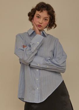 [RYUL+WAI/신상 5%할인+추가5%]  블루 스트라이프 언발란스 셔츠