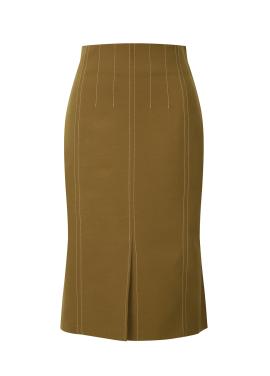 Stripe Patterned Slim Fit Skirt