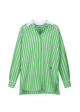 Stripe Patterned Small Patch Blouse