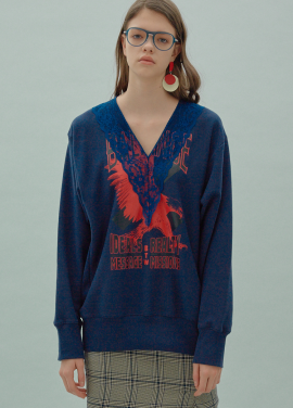 [SURREAL BUT NICE/5%쿠폰] V-Neck Long Sweat Navy