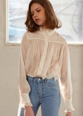 [조이 착용★5%할인+5%쿠폰/Sorry, Too Much Love] shiny dot ruffle blouse