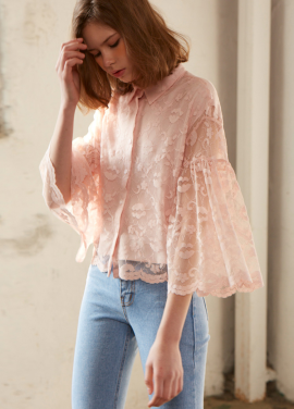 [10%+5%/Sorry,Too Much Love] lace shirring blouse_pink