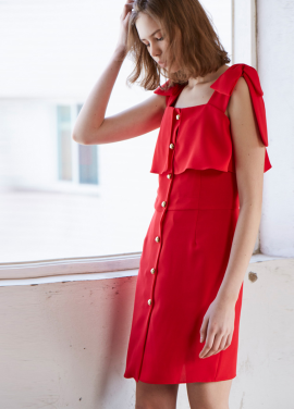 [신다은 착용★10%/Sorry, Too Much Love] signature buttondown ribbon dress