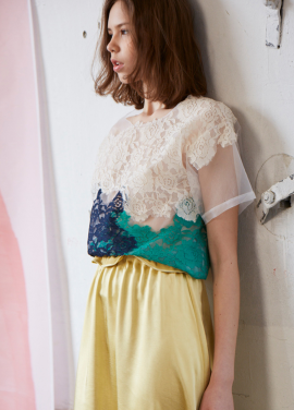 [10%할인/Sorry, Too Much Love] organza lace patch blouse_gnmix