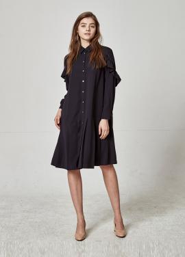[The Kstory] Pleats Dress_ Navy