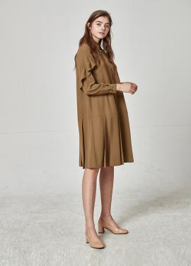 [The Kstory] Pleats Dress_ Khaki