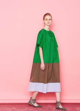 [단독할인★20%+5%/Mardi Mercredi] COLOR BLOCK MAXI DRESS GREEN