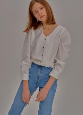 [신상5%할인+추가5%/ADDSENSE] Neat V-Neck Shirt_White