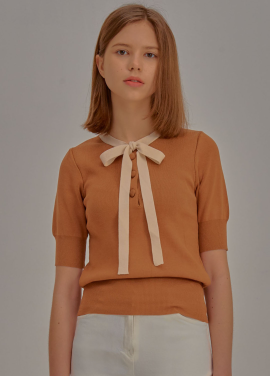 [5%할인/ADDSENSE] Short Sleeve Ribbon Knit_Brown
