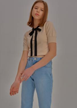 [5%할인/ADDSENSE] Short Sleeve Ribbon Knit_Ivory