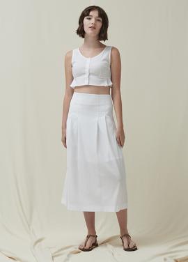 [5%신상할인+5%추가 / DONADONA]Seersucker Skirt_White