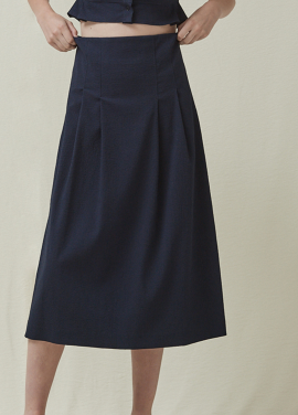 [5%신상할인+5%추가 / DONADONA]Seersucker Skirt_Navy