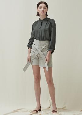 [5%신상할인+5%추가 / DONADONA]High-waist Belted Shorts_Grey